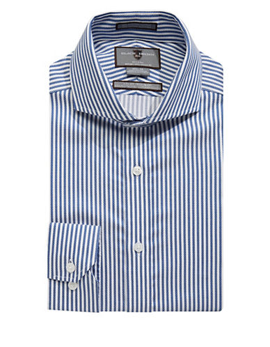 Black Brown 1826 Non-Iron Slim Fit Stripe Jacquard Dress Shirt-WHITE/BLUE-16-32
