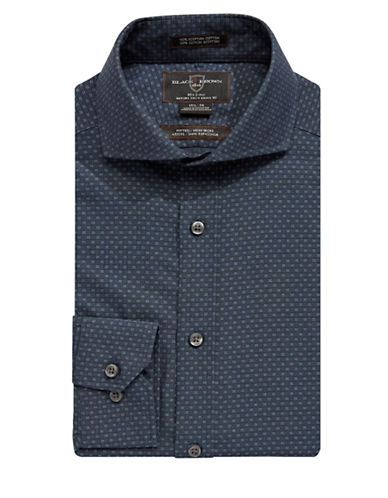 Black Brown 1826 Non-Iron Fitted Tonal Dobby Dress Shirt-NAVY-16-34