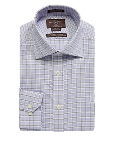 Black Brown 1826 Non-Iron Classic Fit Dobby Check Dress Shirt-BLUE/TAN-17.5-35