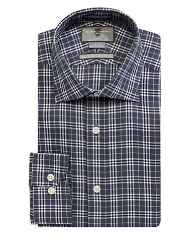 Black Brown 1826 Checked Dress Shirt-NAVY-17-36