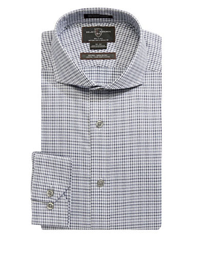 Black Brown 1826 Checked Dress Shirt-GREY-17.5-36