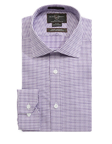 Black Brown 1826 Checked Dress Shirt-RED-16.5-36