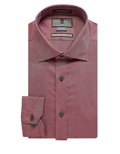 Black Brown 1826 Non-Iron Tonal Slim Fit Dress Shirt-RED-17.5-36