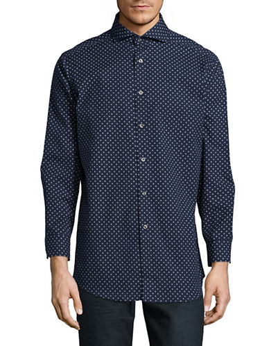 Black Brown 1826 Dobby Print Sport Shirt-NAVY-17.5-36