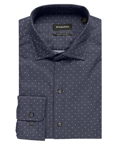 Esquire Polka Dot Dress Shirt-BLUE-15.5-32/33
