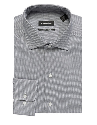Esquire Small Square Print Dress Shirt-WHITE/BLUE-17.5-34/35