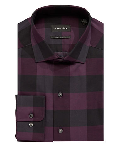 Esquire Checkered Dress Shirt-RED-15.5-32/33
