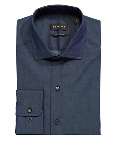 Esquire Solid Chambray Dress Shirt-BLUE-15.5-34/35