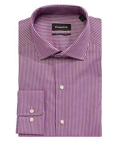Esquire Slim-Fit Striped Cotton Dress Shirt-PINK-15.5-34/35