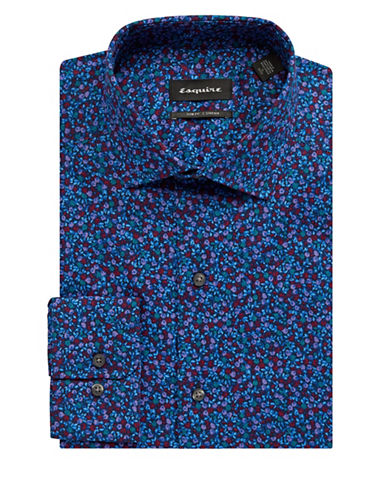 Esquire Floral-Print Stretch Cotton Dress Shirt-BLUE-17-34/35