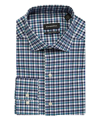 Esquire Slim-Fit Checkered Cotton Dress Shirt-BLUE/GREEN-14-32/33
