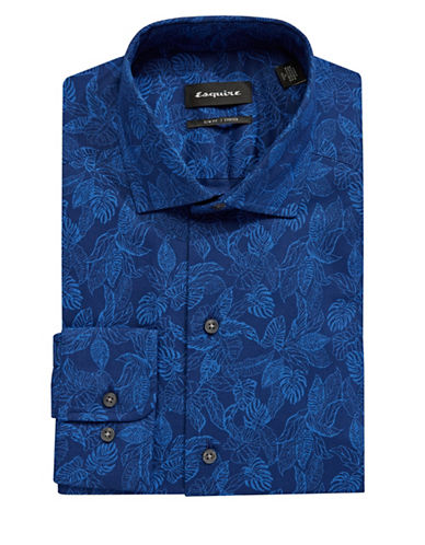 Esquire Floral Cotton Dress Shirt-NAVY-14.5-32/33