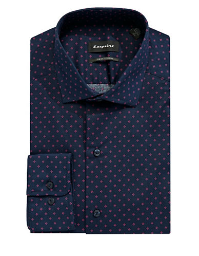 Esquire Printed Cotton Dress Shirt-NAVY-15.5-34/35
