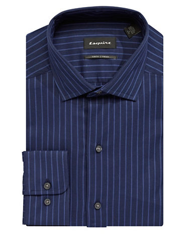 Esquire Slim-Fit Striped Cotton Dress Shirt-NAVY-16-32/33