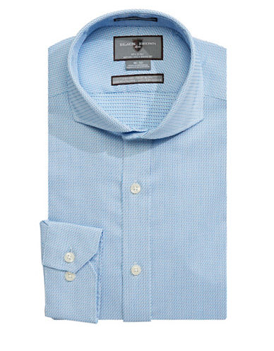 Black Brown 1826 Slim-Fit Cotton Dress Shirt-AQUA-16.5-32