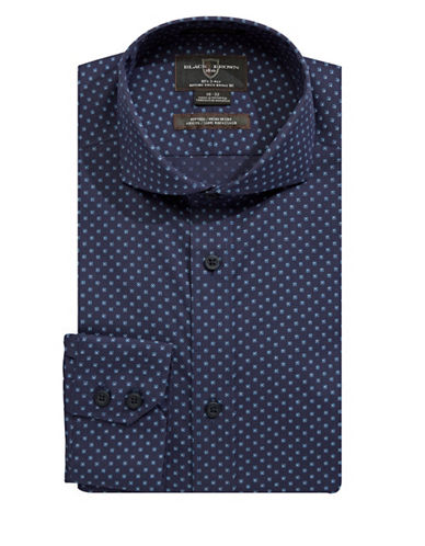 Black Brown 1826 Printed Dress Shirt-BLUE-15-33
