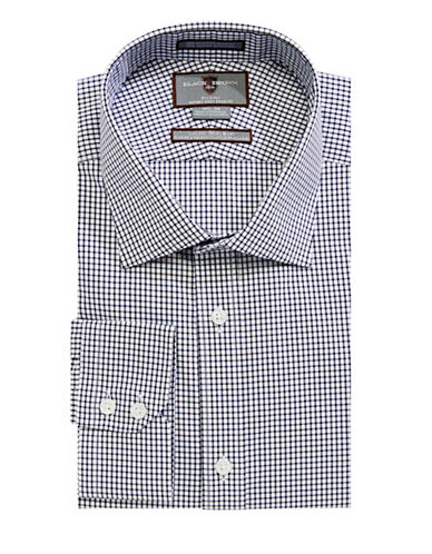 Black Brown 1826 Ecom Grid-Print Dress Shirt-WHITE-14-32