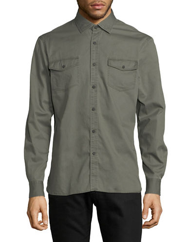 Black Brown 1826 Garment Dyed Sport Shirt-GREEN-Large