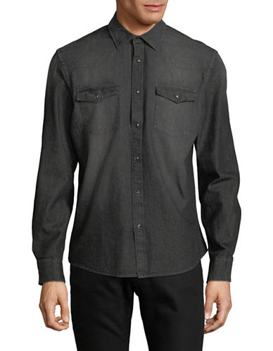 Black Brown 1826 Western Denim Shirt-BLACK-Medium