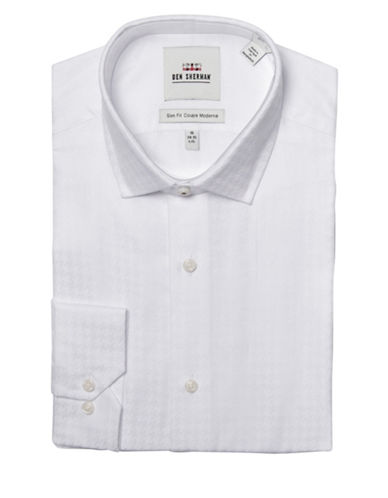 Ben Sherman Slim-Fit Textured Houndstooth Dress Shirt-WHITE-14-32/33