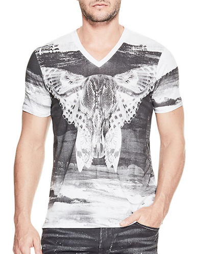 Guess Brushed Mixed-Print T-Shirt-WHITE-X-Large 89204940_WHITE_X-Large