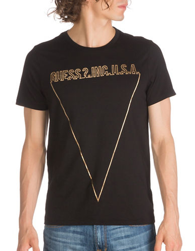 Guess Linear Logo Cotton Tee-BLACK-Small