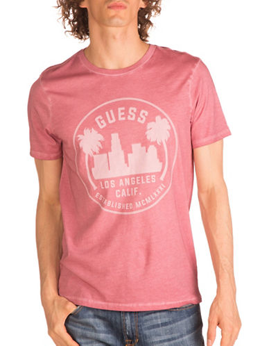 Guess City Logo T-Shirt-PINK-Large