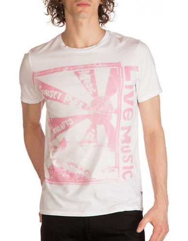 Guess Live Music Graphic Print T-Shirt-WHITE-X-Large
