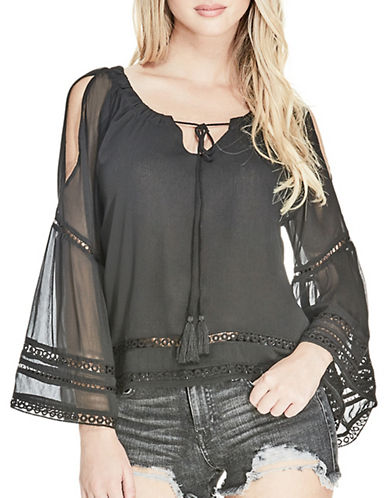 Guess Marina Cold-Shoulder Top-JET BLACK-Medium