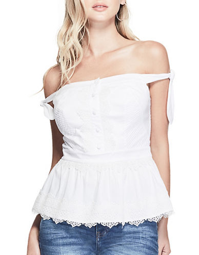 Guess Asher Lace Off-the-Shoulder Top-TRUE WHITE-Medium