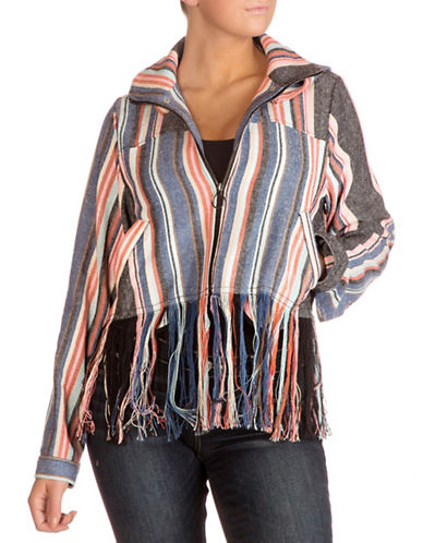 Guess Silas Fringe Jacket-BORDERTOWN STRIPE MULTI-X-Large