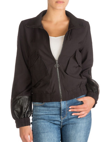 Guess Reagan Bomber Jacket-JET BLACK-X-Large