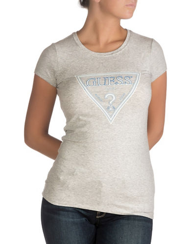 Guess Glow In The Dark Logo T-Shirt-HEATHER LIGHT GREY-X-Large