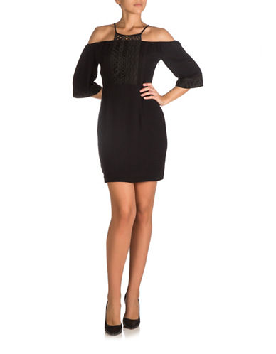 Guess Nila Off-the-Shoulder Dress-JET BLACK-8