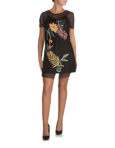 Guess Jimena Tropic Shift Dress-JET BLACK-X-Small