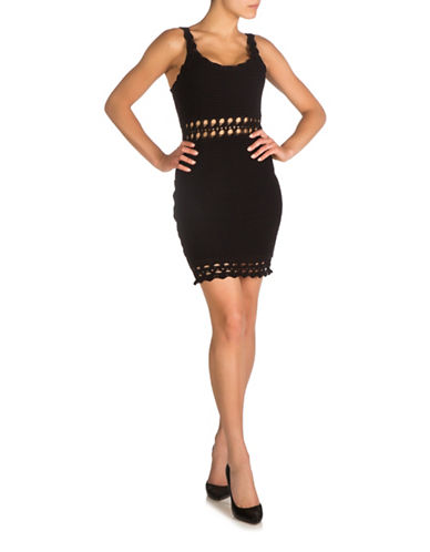 Guess Cassidy Crochet Bodycon Dress-JET BLACK-Large
