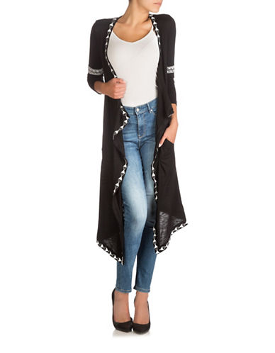 Guess Coast Drape Front Duster-JET BLACK-Small