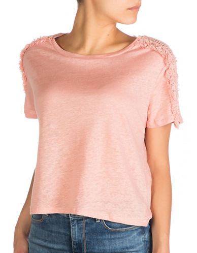 Guess Lino Crochet Inset Top-ROSE TAN-Small