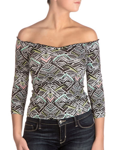 Guess Parke Off-the-Shoulder Top-MAYAN MAZE-Small