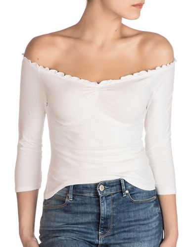 Guess Parke Off-the-Shoulder Top-TRUE WHITE-Small