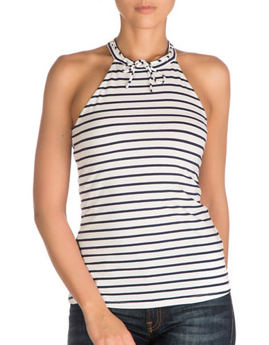 Guess Elyza Tie Front Halter Top-YACHT STRIPES-Large