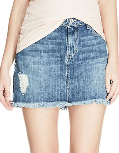 Guess Stella Destroyed Mini Skirt-LIGHT MEDIUM BLUE-Large