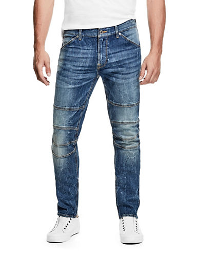 Guess Slim Tapered Low-Rise Moto Jeans-BLUE-33X32