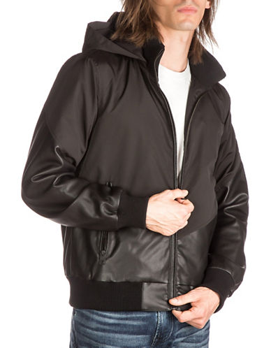 Guess Cabot Mixed Media Jacket-BLACK-Small