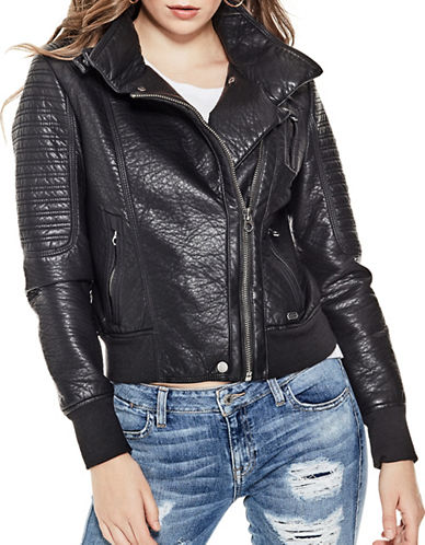 Guess Evelyn Faux-Leather Motorcycle Jacket-JET BLACK-X-Large