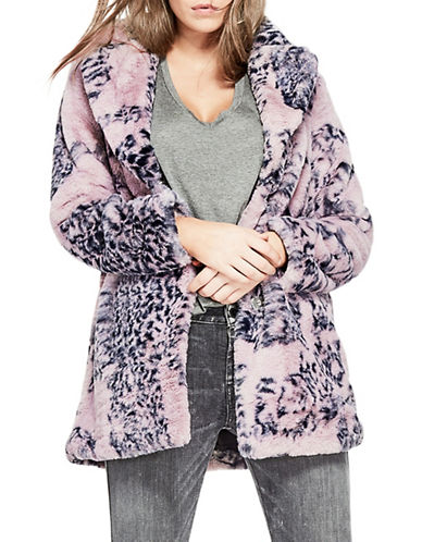 Guess Dana Faux Fur Coat-PURPLE-Medium