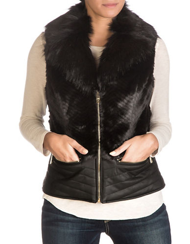 Guess Piper Faux Fur Vest-BLACK-Medium