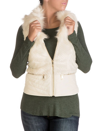 Guess Piper Faux Fur Vest-MILK-X-Small
