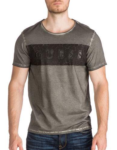 Guess Block Logo T-Shirt-GREY-Large