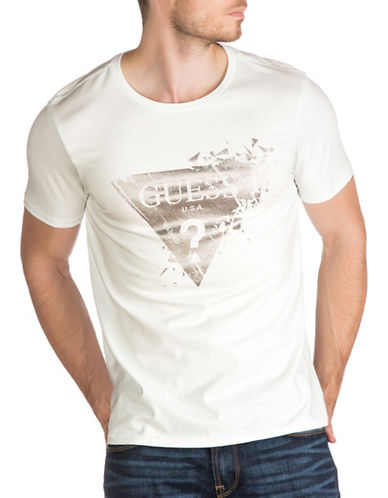 Guess Shattered Logo Cotton T-Shirt-MINT-X-Large